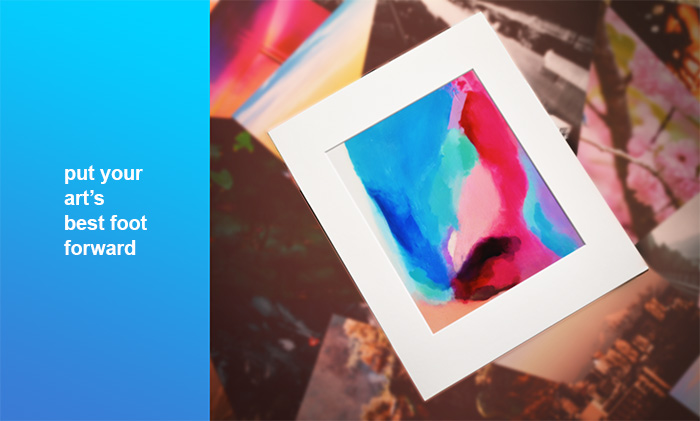 put your art's best foot forward - matted art print - mat board center