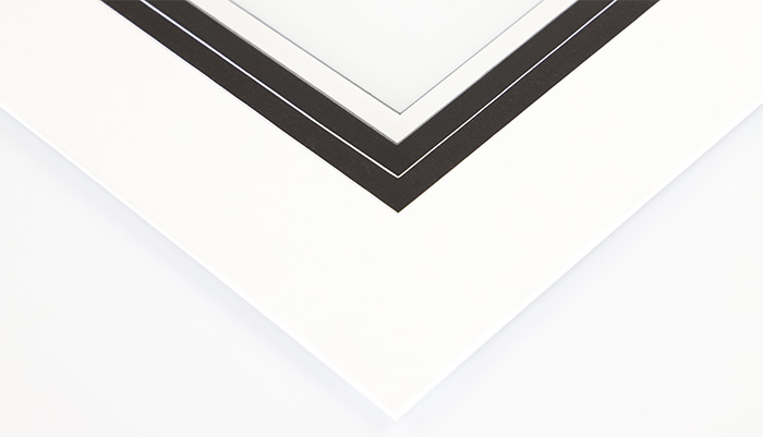 white and black mat board with white and black core - Mat Board Center